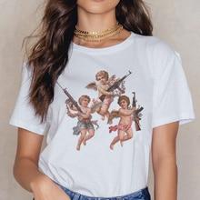 Angel 90s Fashion T Shirt Women Kawaii Print Short Sleeved O-neck T-shirt Vintage Vogue Ullzang Tshi