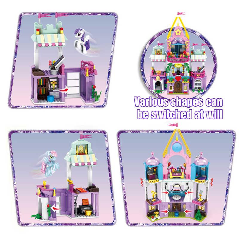 Bloques de construcción de bloques de dibujos animados de Navidad para niñas, amigos, Princesa, castillo, amistad, Princesa, edificio palaciego, juguetes para niñas, juguetes para niños