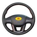 Оплетка на руль для Kia K2 Kia Rio 3 2011 2012 2013  кожаный чехол на руль  чехол для авто  Стайлинг автомобиля