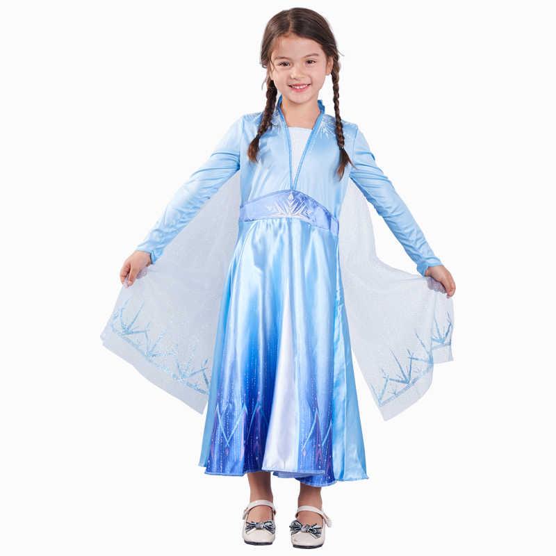 สาวใหม่ชุด Elsa Snow Queen เครื่องแต่งกายคอสเพลย์สำหรับชุดเด็กเจ้าหญิง Disfraz Carnaval Vestido De Festa Infantil Congelados