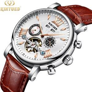 Image 3 - KINYUED montre mécanique automatique, étanche en cuir, mode, calendrier perpétuel, emballage cadeau