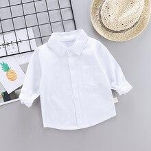 Коллекция года, Детские однотонные белые рубашки для мальчиков и девочек Детские топы для мальчиков и девочек, одежда для свадьбы с длинными рукавами футболки с Пикачу для малышей