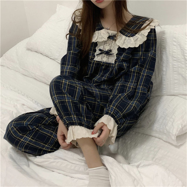 Alien Kitty 2020 Chic Plaid Sleepwear Patchwork Lace Geometric Long Sleeves Home Clothes Loose Casual Chic Women Sweet Pajamas