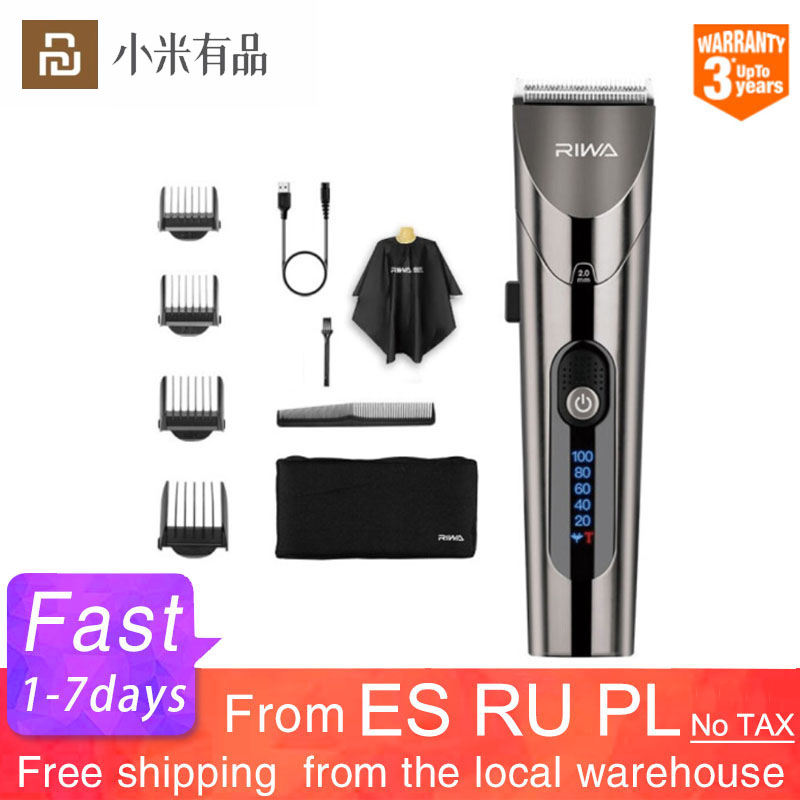 Xiaomi Mijia RIWA Electric Hair Clipper Men Professional Trimmer Rechargeable Steel Cutter Haircut With LED Screen Washable