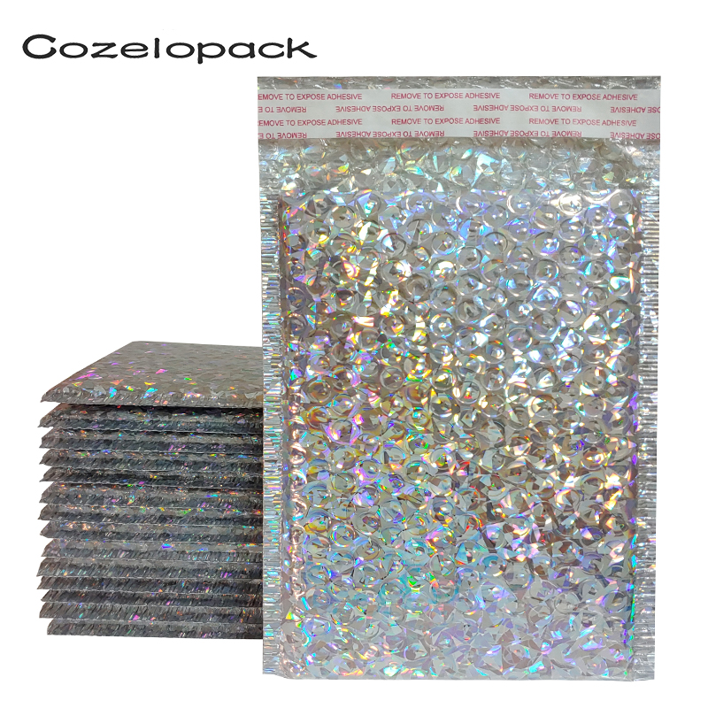 50PCS Holographic Metallic Bubble Mailer Glamour Colorful Silver Shades Foil Cushion Padded Shipping Envelopes