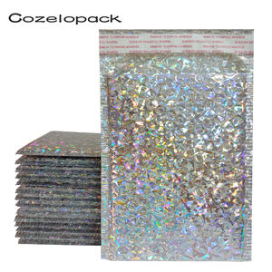 50PCS Holographic Metallic Bubble Mailer Glamour Colorful Silver Shades Foil Cushion Wedding bags Padded Shipping Envelopes