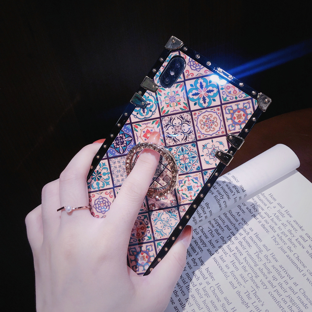 Cover For iPhone 11 Pro Max Case Square Blue Ray Chinese Diamond Ring Stand Girly Coque For iPhone X XR XS Max 6s 7 8 Plus Case (4)