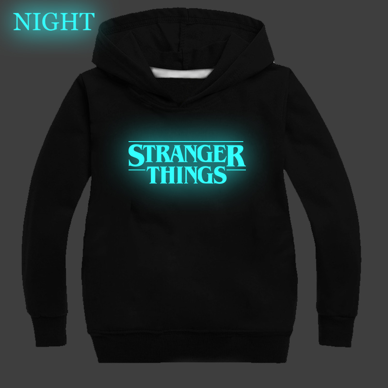 Coisas estranhas imprimir crianças moletom primavera outono hoodies criança meninas menino roupas esportivas luminosa moletom infantil baju