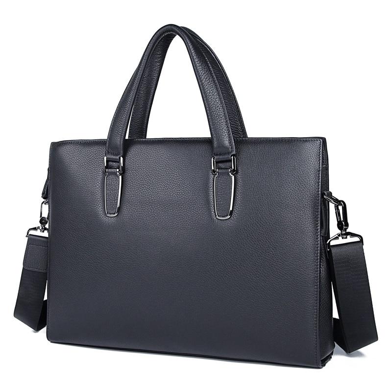 Genuine Leather Laptop Bag Classic Black Office Briefcases Men Business Bag Shoulder Bag 7419A