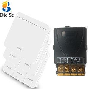 Diese высокомощный релейный КОНТРОЛЛЕР AC 75V ~ 250V 30A безопасный 433Mhz беспроводной релейный приемник и 86 настенный панельный выключатель, светиль...