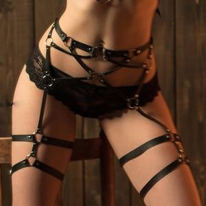 Image 2 - PU Leather Sword Belt Waist Garter Handmade Body Bondage Sexy Leg Suspenders Restraints Harness Erotic Stockings Boogeaneel