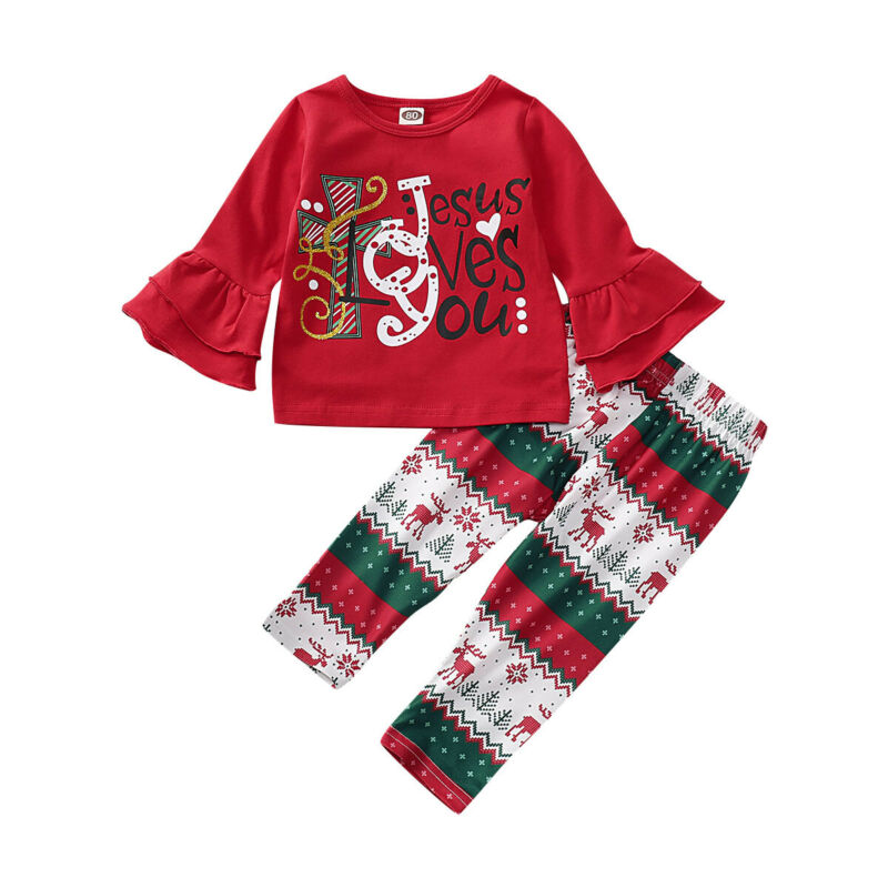 2PCS Toddler Baby Girls Christmas Outfits tops+pants Kids Clothes set