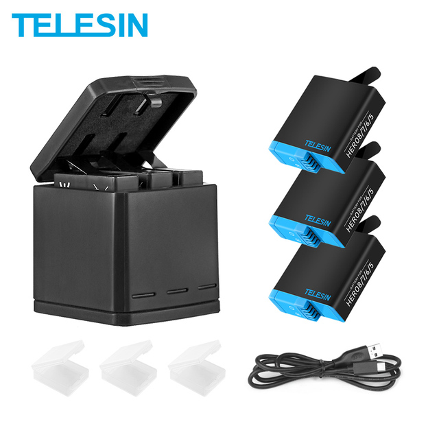 TELESIN 3 Way LED Battery Charger + 3 Battery Pack Charging Box Type C Cable for GoPro Hero 8 7 6 Hero 5 Black Accessories Set