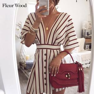 Fleur Wood Deep V Neck Dress Women Summer Striped Print Short Sleeve Button Casual Streetwear A-Line Loose Vintage Dress Vestido(China)