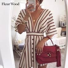 Abito donna in legno Fleur abito Sexy scollo a V abito estivo a righe stampa abito manica corta abito Vintage Casual abiti 2020