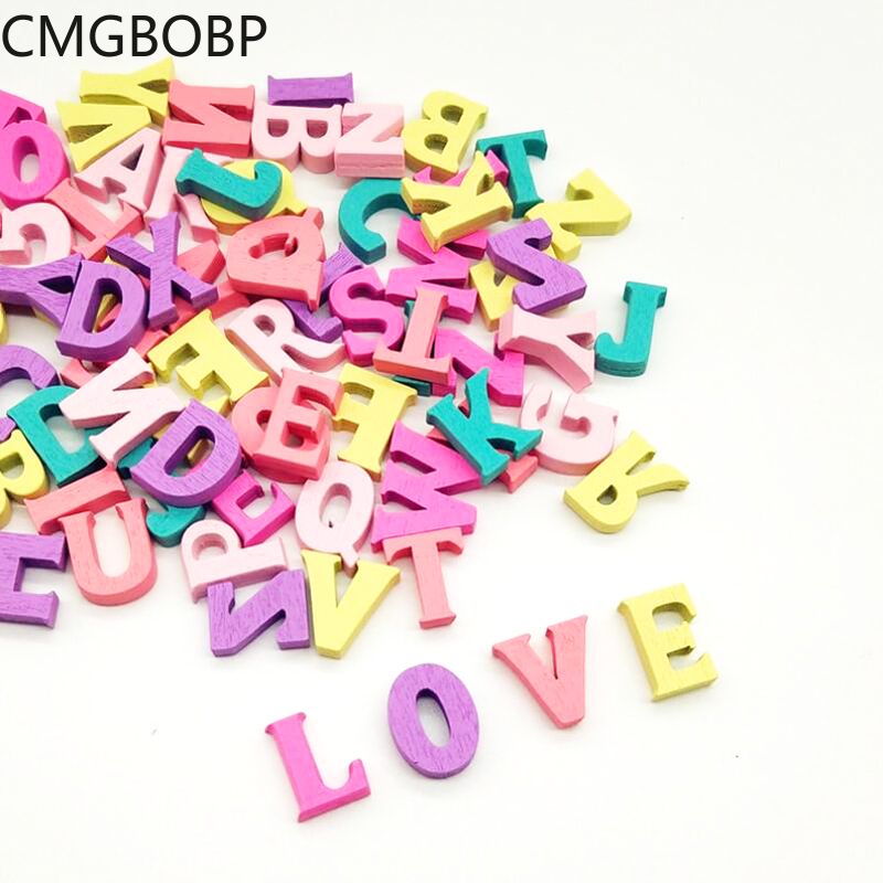 100Pcs Colorful 15mm Wooden Letters Wooden Alphabet Wall Decorative DIY Crafts Scrapbooking For Party Decoration
