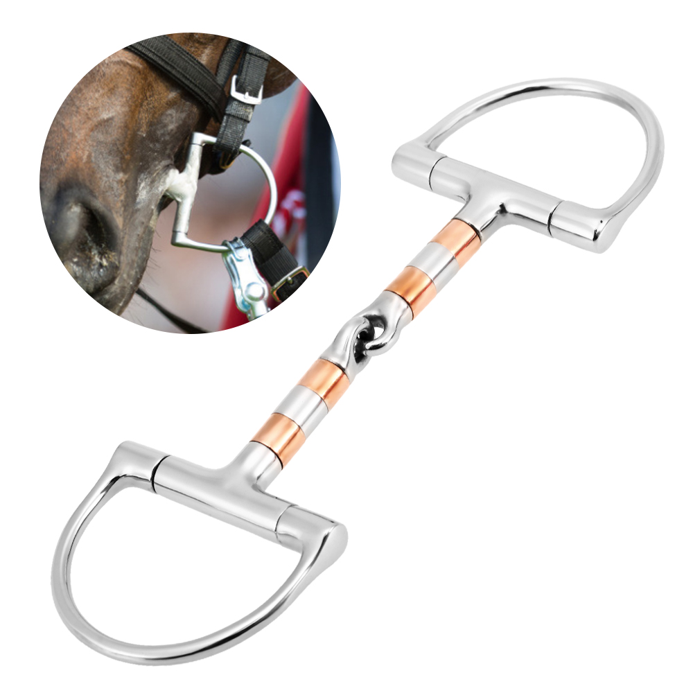 Stainless Steel Horse Mouth Bit Horse Mouth Piece Equestrian Snaffle Double Jointed Bit Horse Racing Accessory