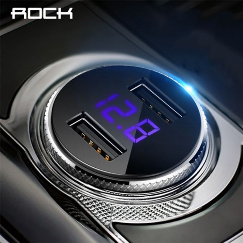 ROCK Car-Charger Usb-Adapter Tablet Led-Display Mobile-Phone Universal Dual-Usb Mini