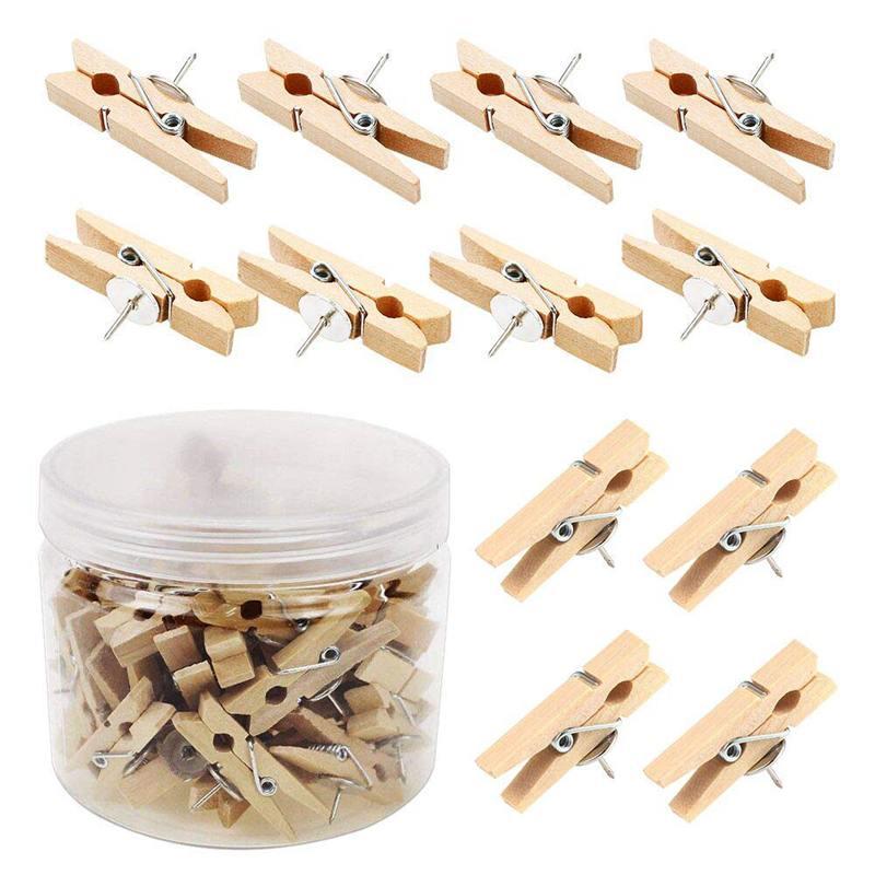 Push Pins With Wooden Clips 50Pcs Thumbtacks Pushpins Creative Paper Clips Clothespins Natural Color For Cork Board And Photo Wa