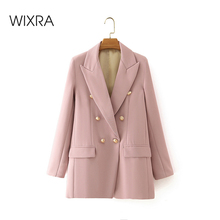Wixra Women's Full Sleeve Double Breasted Blazer Classic Jac