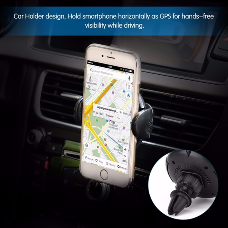 Qi Wireless Charger Car Air Vent Mount Phone Holder Bracket for Samsung Galaxy