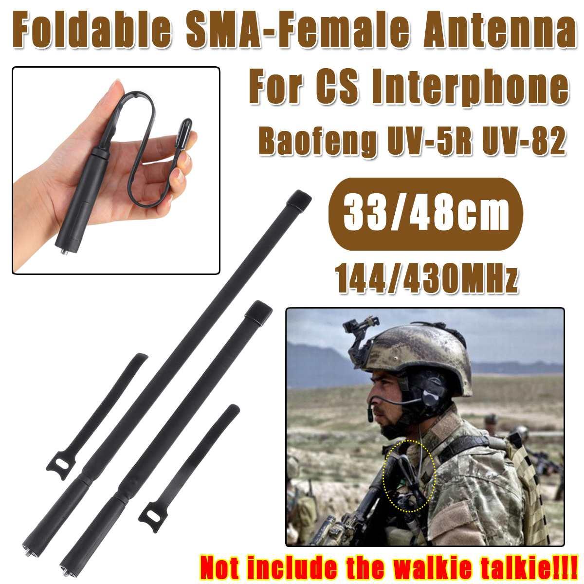 48cm Foldable SMA-Female Connector Dual Band Tactical Antenna 144/430Mh For CS Interphone Baofeng UV-5R UV-82 Ham Radio Antenna