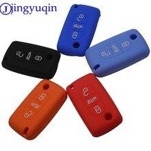 Capa de silicone para chave de carro, para peugeot 307 308 407 citroen c3 c4 c6 xsara picasso berlingo 3 botões chave remota dobrável