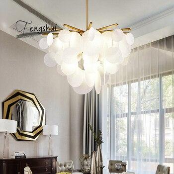 Modern Glass Shell LED Chandelier Bedroom Luxury Ceiling Chandelier Lighting Dining Room Living Room Indoor Decor Light Fixtures