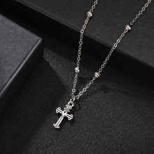 Necklace Pendant Cross Alloy Bible Christian Prayer Lady Men's Necklace Silver Classic Necklace Beaded Chain Necklace(China)