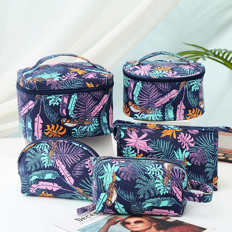 New Fashion Canvas Make Up Bag Storage Cases Casual Printing Cosmetic Bag Travel Toiletry Bag