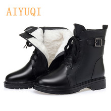 Boots Shoes Wool Women Winter Genuine-Leather Ladies AIYUQI Warm New