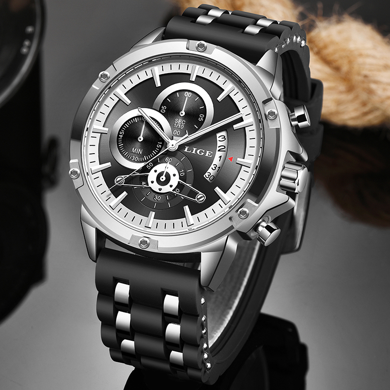 Relogio Masculino 2020 New Waterproof Mens Watches LIGE Top Brand Luxury Quartz Wrist Watch Men Business Clock Sport Chronograph