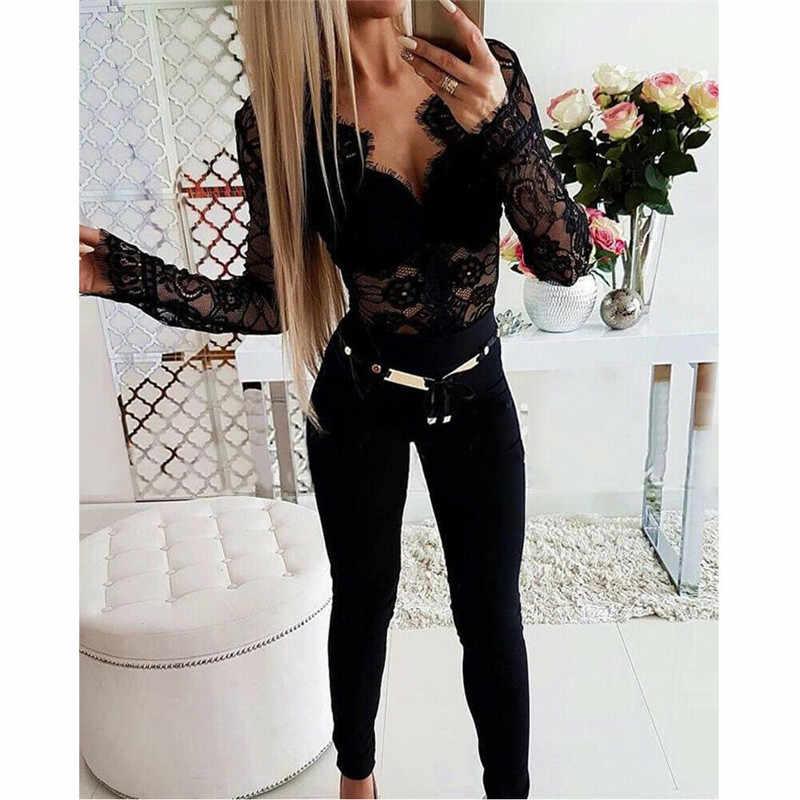 Black V-neck lace Bodysuit Women Backless Transparent Sexy Body Jumpsuit Rompers 2020 Clubwear Fit Slim Bodysuits Slim Overalls