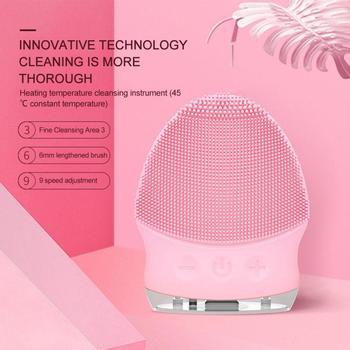 Cepillo de Limpieza Facial sónico de silicona, instrumento de Limpieza eléctrico, resistente...