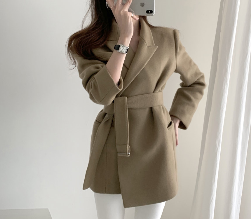 Women Wool Blazers And Jackets With Belt Korean Style Blazer Suit Jacket  Female  Long Sleeve Suit