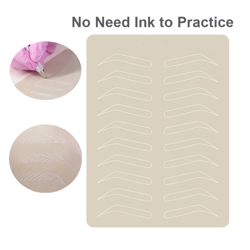 5pcs Microblading Eyebrow Practice Skin Latex Permanent Makeup Eyebrow Training Skin Tattoo PMU Skin No Ink Needed White Line