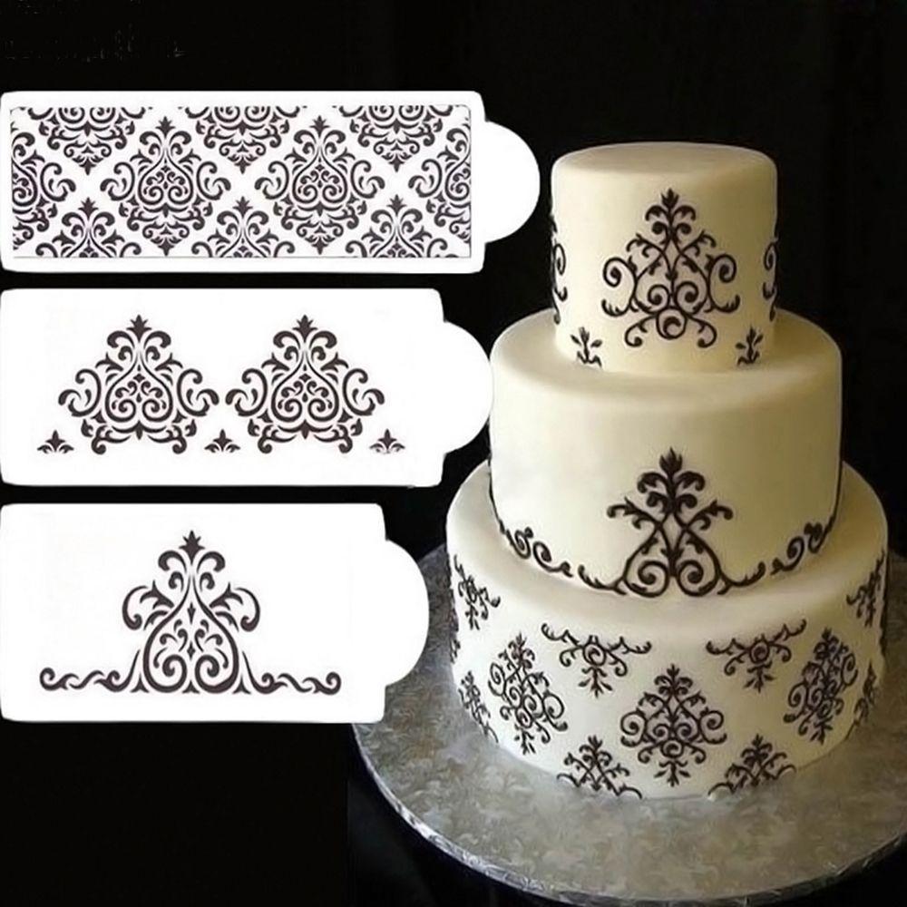 3pcs Stencil Cake Decorating Tools Sugar Sieve Chocolate Cake Mold Diy Wedding Decor Classic Baking Mold Cake Side Lace Stencil