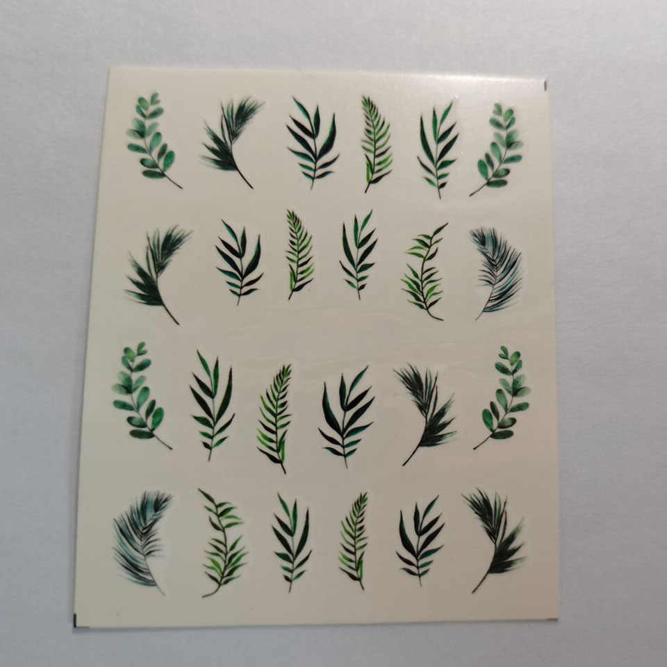 1Pcs Water Nail Sticker En Sticker Bloem Blad Boom Groene Eenvoudige Zomer Slider Diy Watermerk Manicure Decor Nail Art