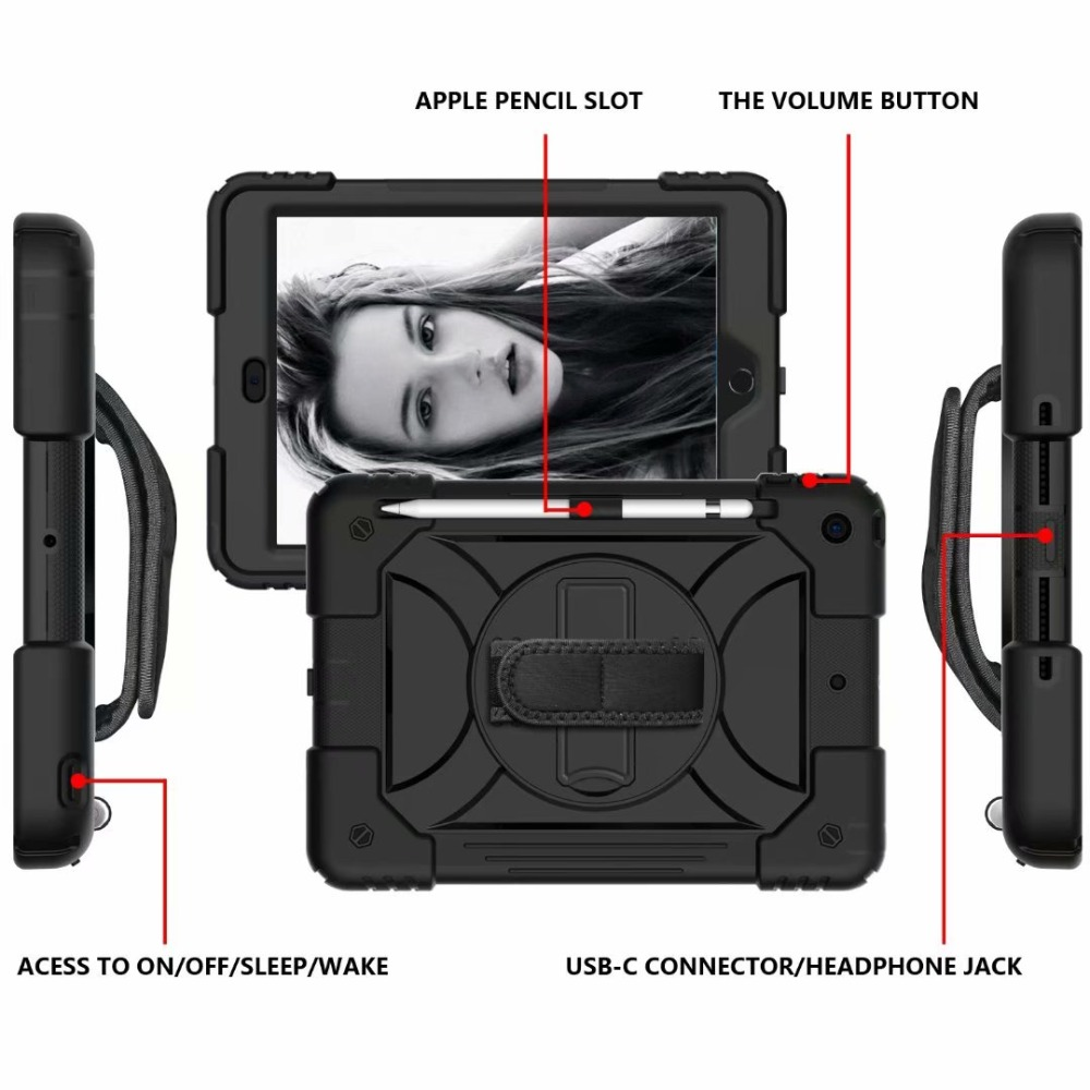 iPad Rotating 360 For Generation Cover iPad For Case Holder Strap 7th Hand Pencil Stand