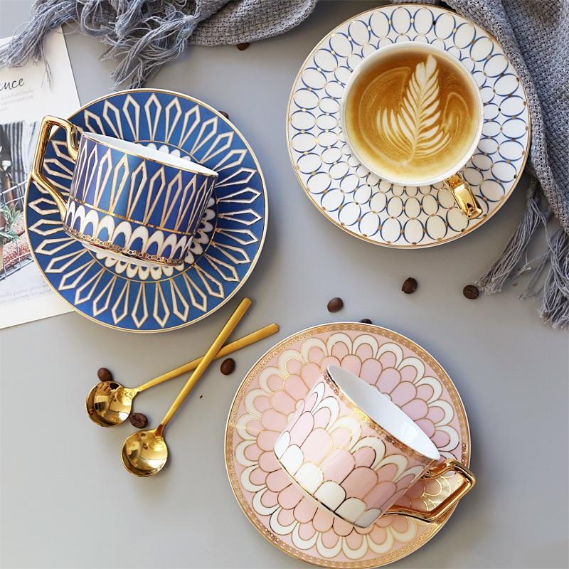 Британский стиль, роскошная Марокканская кофейная чашка и блюдце, набор с золотым Гендель, керамическая чашка капучино для послеобеденного...