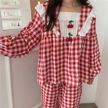 Plaid Pajamas Set Women Sweet Princess Cute Cotton Pyjamas Square Collar Lace Long Sleeve Fall 2 Piece Home Mom Sleepwear