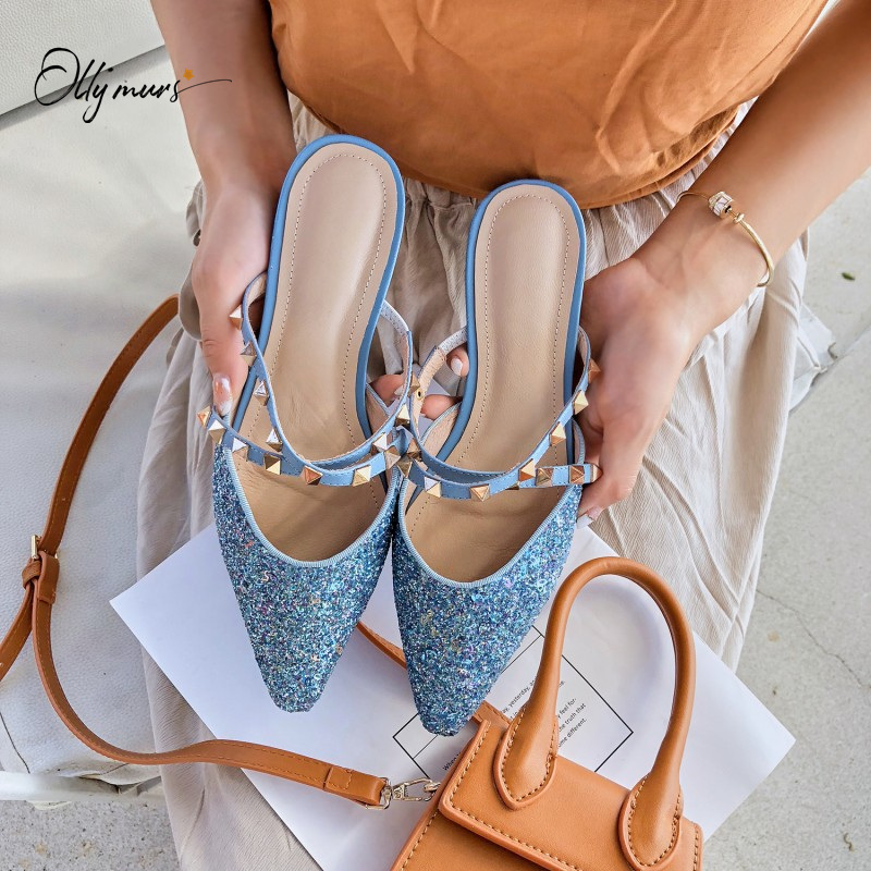OllyMurs New Spring Summer Gold Blingbling Shoes Woman Slippers Pointed Toe Metal Studded Women Shoes Slippers Mules Shoes Woman
