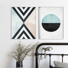 Vida segura abstracta Vintage triángulo geométrico patrón circular lienzo pinturas pared imágenes artísticas carteles impresiones Decoración Para sala de estar