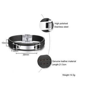 FXM Bracelet Man Steel Single-Steel-Material Real-Leather Bangle 20cm Hot-Sell Popular