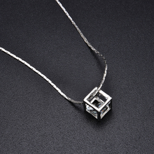 цена на new trendy 925 sterling silver fashion magic cube necklace pendant chain vogue charming jewelry accessories party