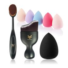 Toothbrush Makeup Brush Wavy Foundation Water Puff Kit Beauty Tools