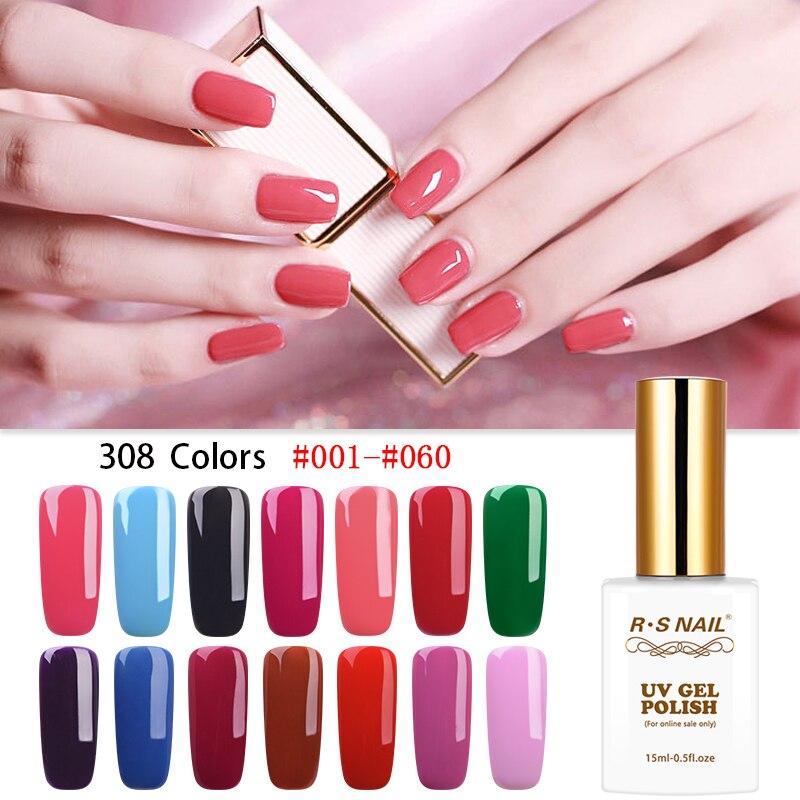 Gel de uñas RS Esmalte de uñas manicura Gellak Vernis Semi permanente UV LED 308 colores rango Esmalte Para Unha Gel juego de barniz 15ml