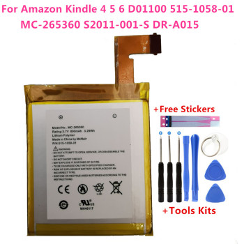 Original 890mAh Battery For Amazon Kindle 4 5 6 D01100 515-1058-01 MC-265360 S2011-001-S DR-A015 Battery Gift Tools +Stickers