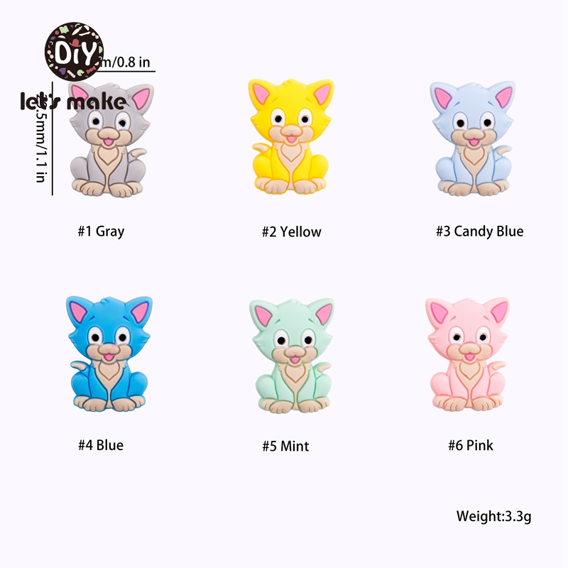 Купить с кэшбэком Let's Make Silicone Beads 6pcs Silicone Rodents Teething Cat Animal 4-6 Months DIY Pacifier Chain Baby Goods Christmas Teether