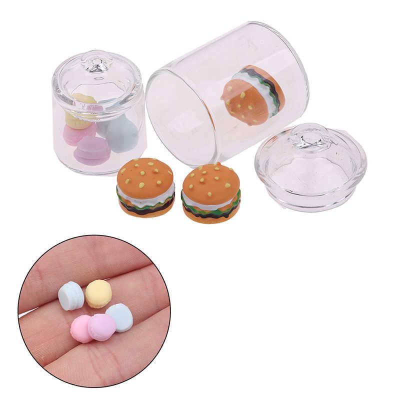 4pcs Mini Clear Glass Food Pot Jar W// Wood Lid 1//12 Dollhouse Kitchen Decor